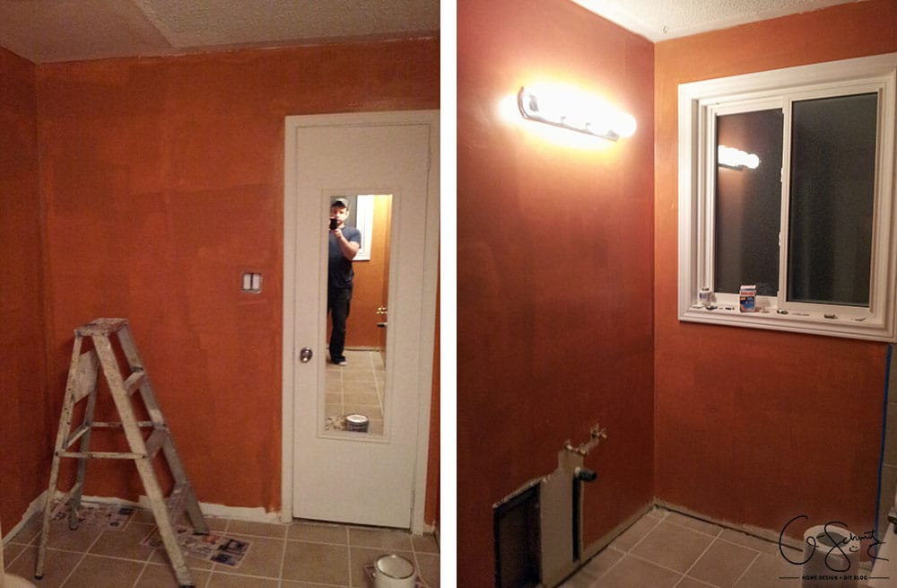 Here are the before pictures of our main DIY bathroom renovation... complete with pink walls, enclosed toilet niche and a full/drywall linen closet!