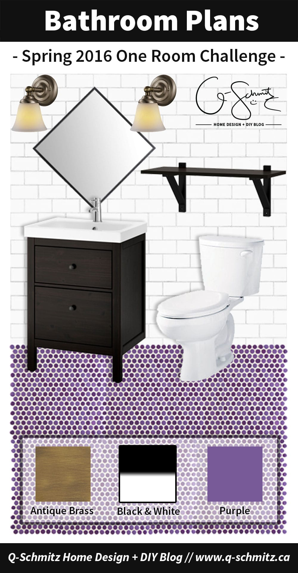 Our basement half bathroom plans involve black, white, purple and antique brass- and should be a great project for the 2016 Spring One Room Challenge (ORC)!