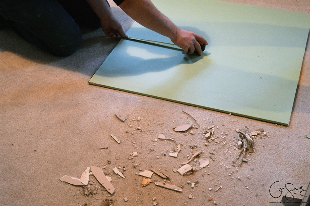 This week I'm going to talk about the drywalling, priming + painting for our basement bathroom, and then go over some of the flooring tile choices.