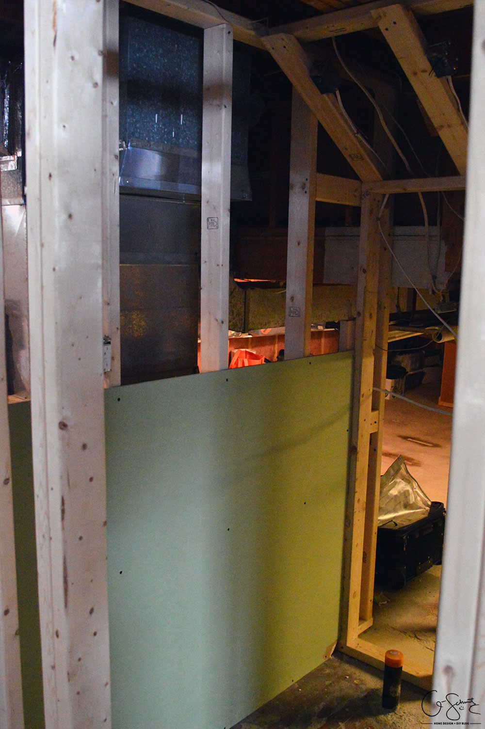 In-progress pictures from the ORC basement bathroom framing + plumbing, and a look at some design options for square flushmount lights.