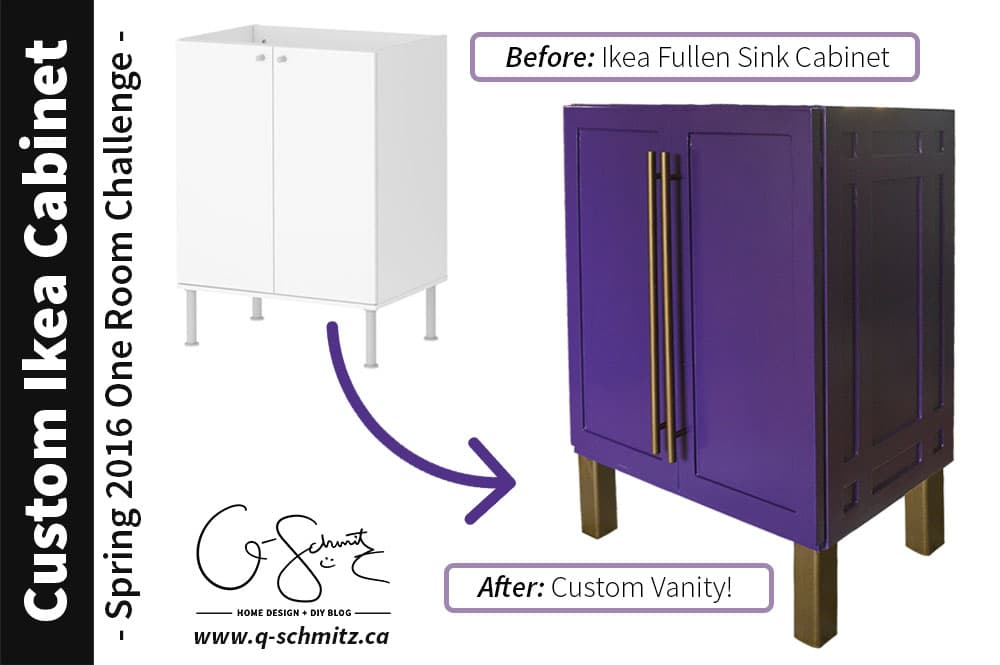 For our basement half-bathroom addition, I created a custom Ikea vanity using the Ikea Fullen sink cabinet. And it's bright purple!