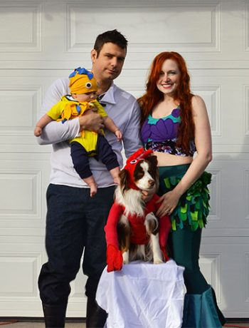 I made DIY family costumes this year, in the theme of Disney's The Little Mermaid. I think they turned out great and I'm so looking forward to handing out treats dressed up as a family this year!