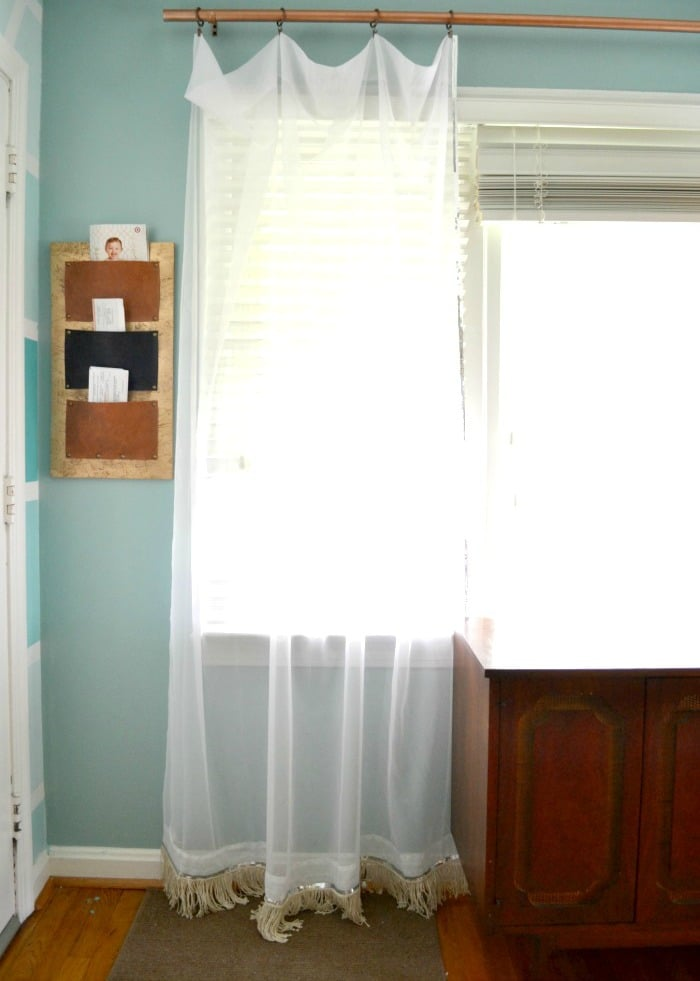Sequin and DIY Fringe Curtains from A Designer at Home