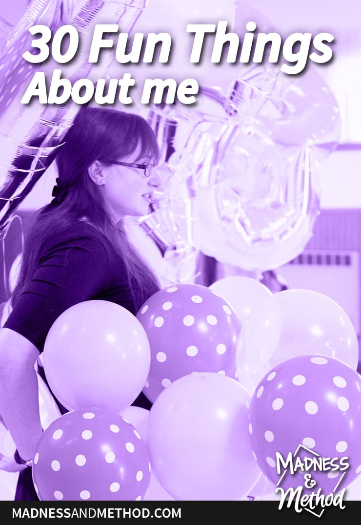 30 things about me purple balloon graphic