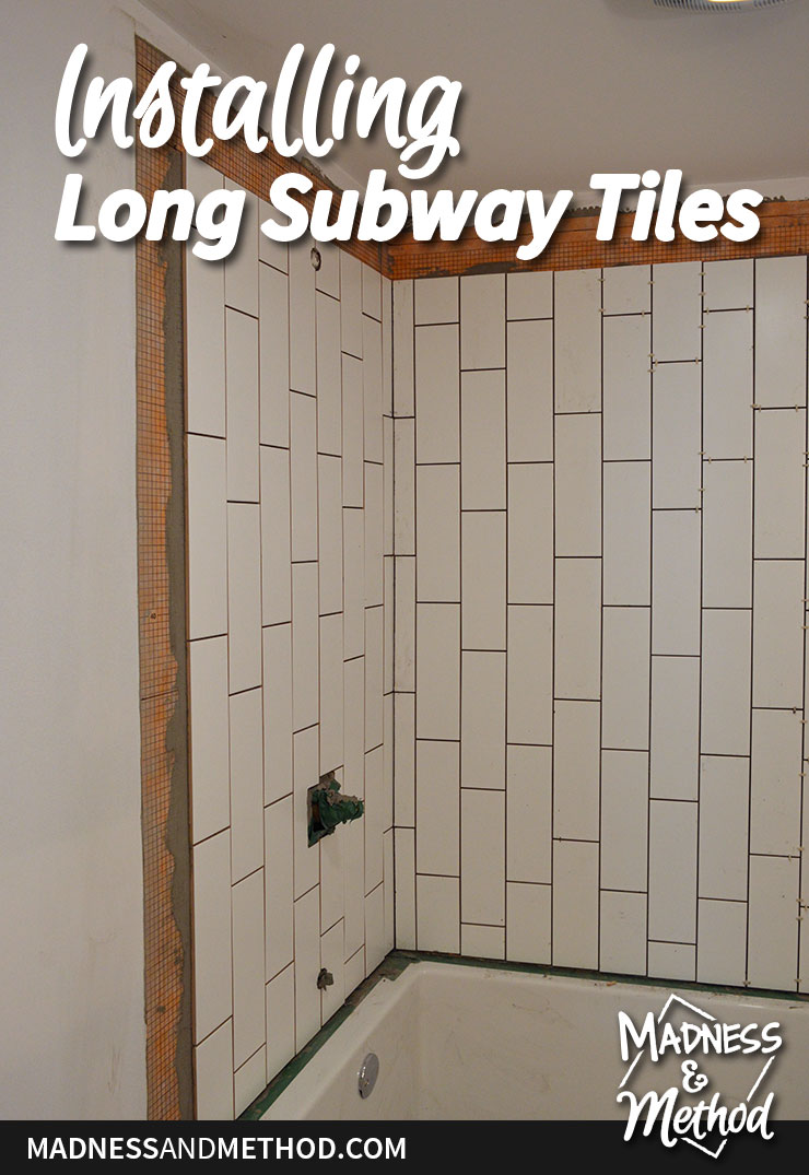 installing long subway tiles graphic